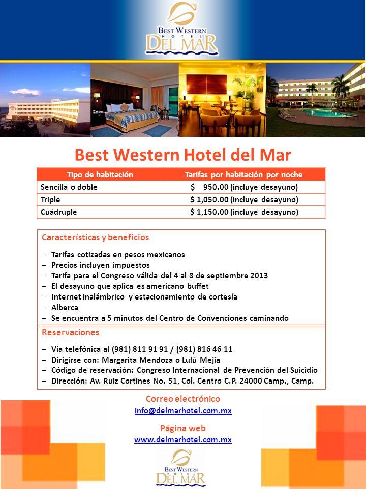 Best Western Hotel del Mar Tarifas por habitación por noche