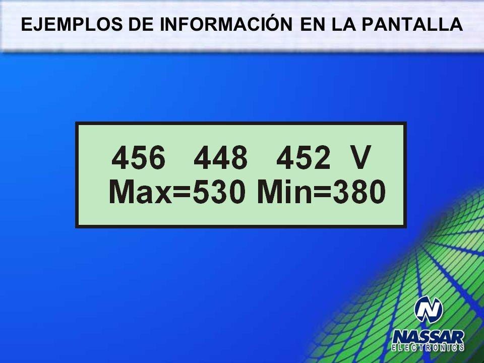 EJEMPLOS DE INFORMACIÓN EN LA PANTALLA