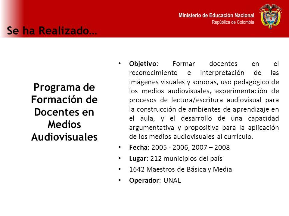 Programa de Formación de Docentes en Medios Audiovisuales
