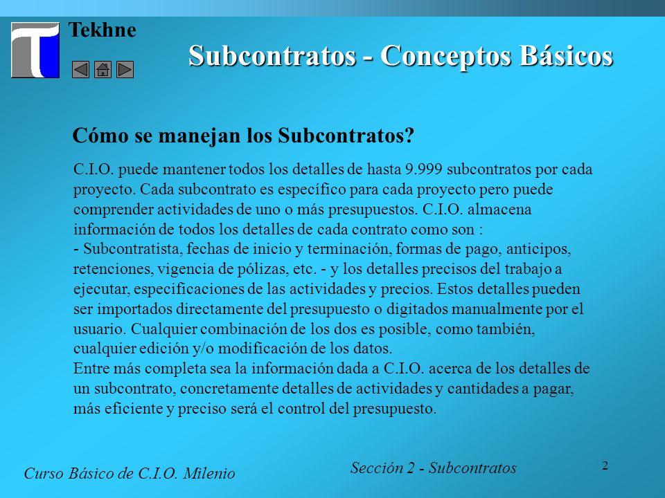Subcontratos - Conceptos Básicos