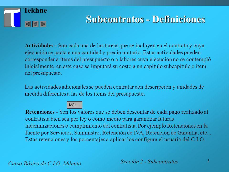 Subcontratos - Definiciones