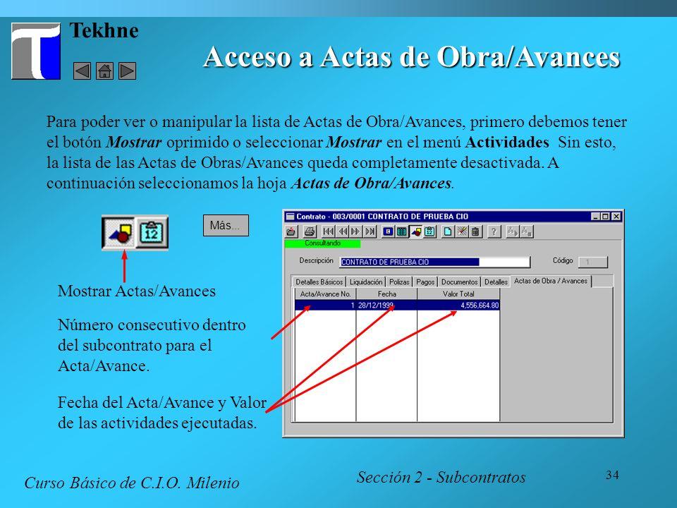 Acceso a Actas de Obra/Avances