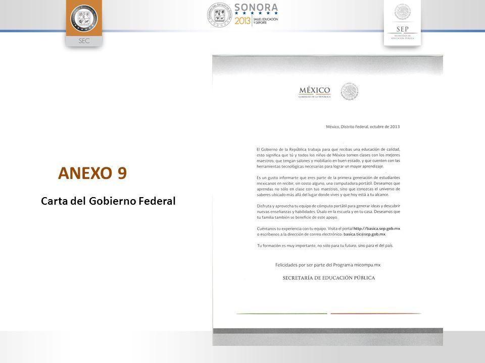 ANEXO 9 Carta del Gobierno Federal