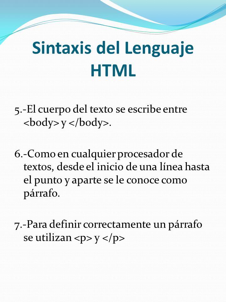 Sintaxis del Lenguaje HTML