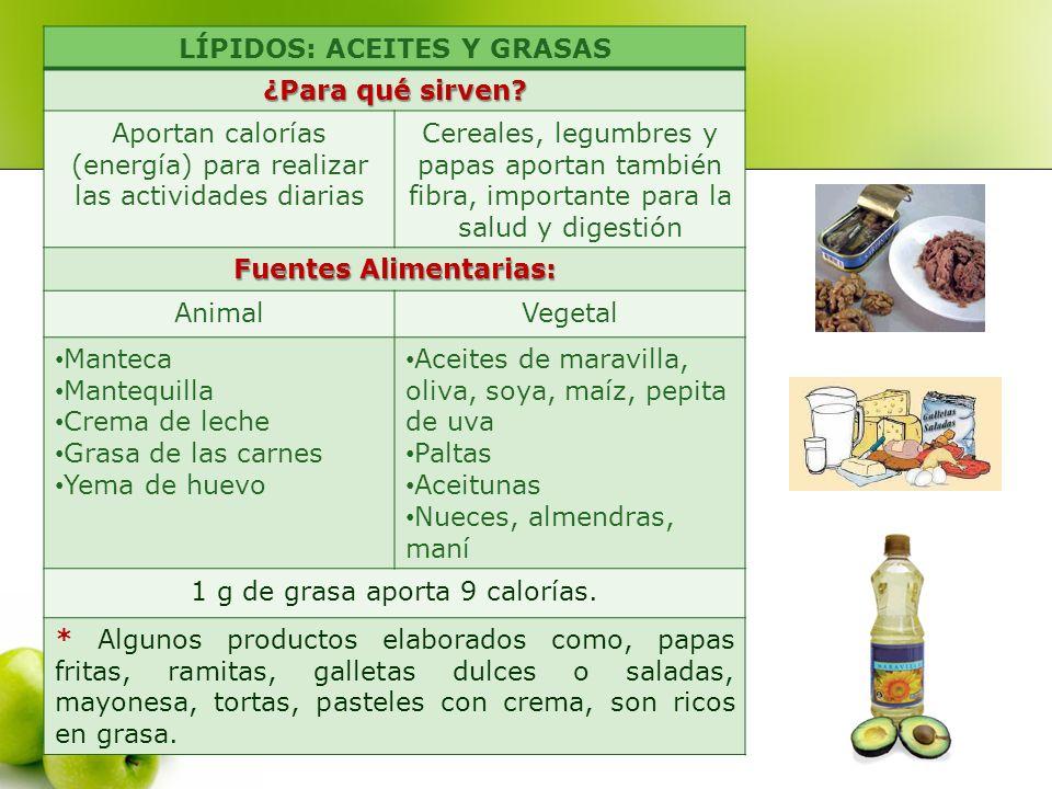 LÍPIDOS: ACEITES Y GRASAS Fuentes Alimentarias: