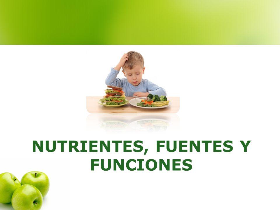 NUTRIENTES, FUENTES Y FUNCIONES