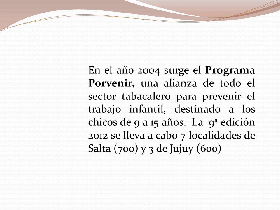 En el año 2004 surge el Programa Porvenir, una alianza de todo el sector tabacalero para prevenir el trabajo infantil, destinado a los chicos de 9 a 15 años.