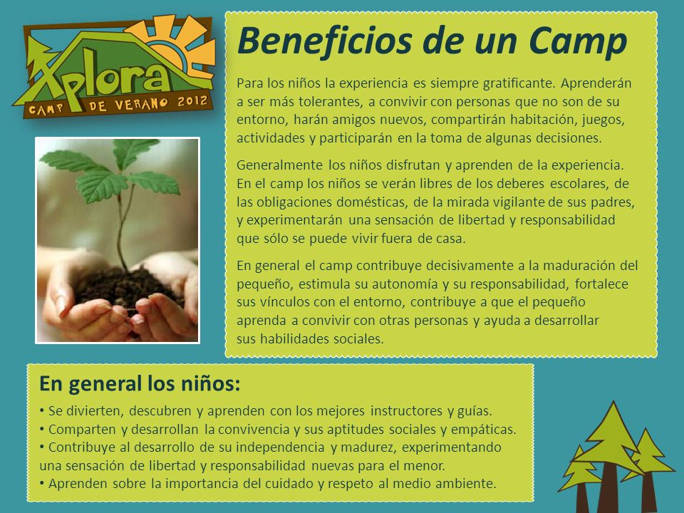 Beneficios de un Camp En general los niños: