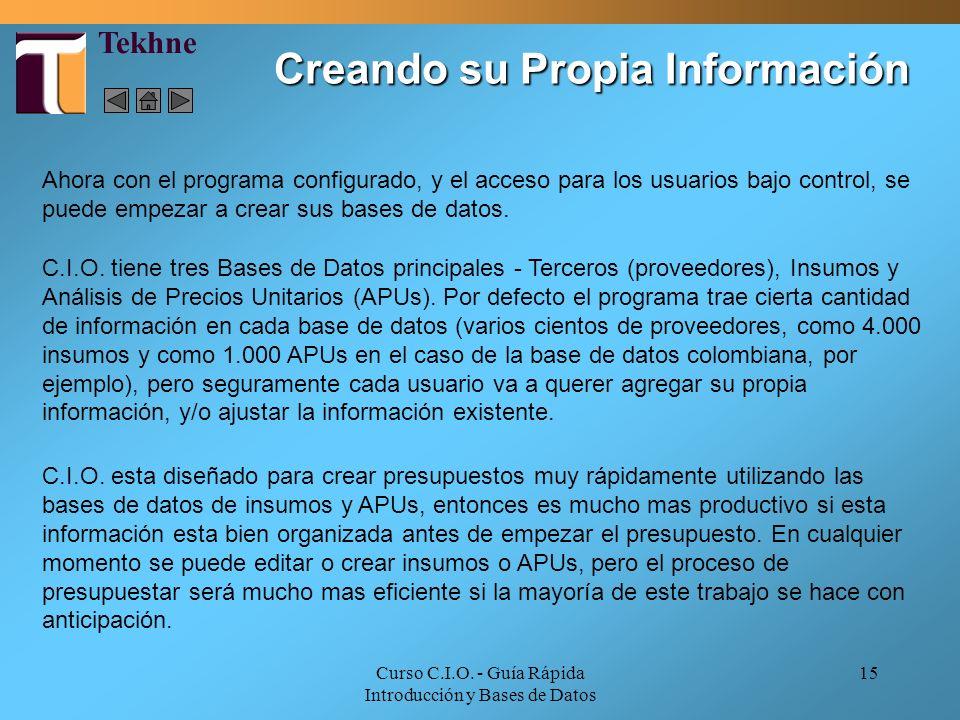 Creando su Propia Información