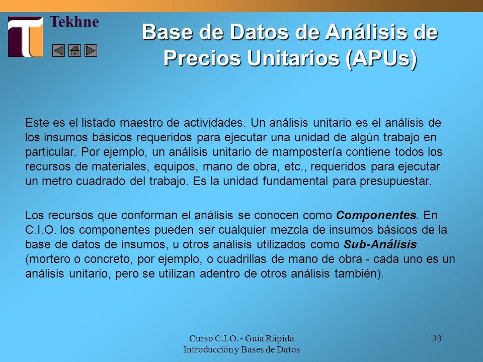 Base de Datos de Análisis de Precios Unitarios (APUs)