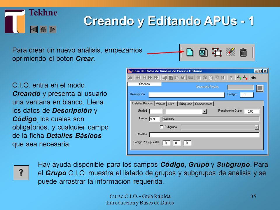 Creando y Editando APUs - 1