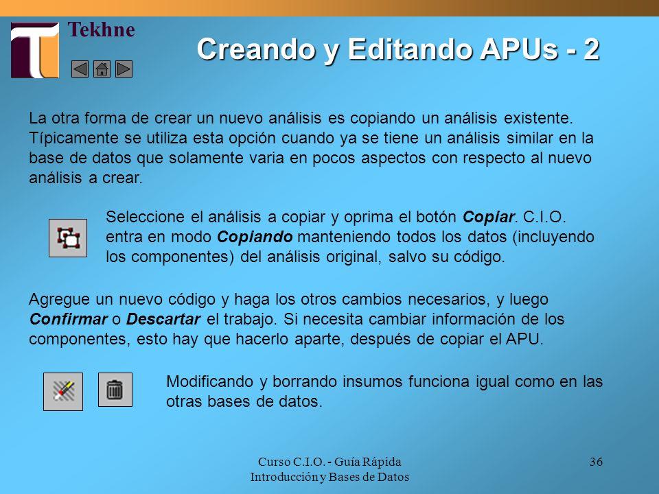 Creando y Editando APUs - 2