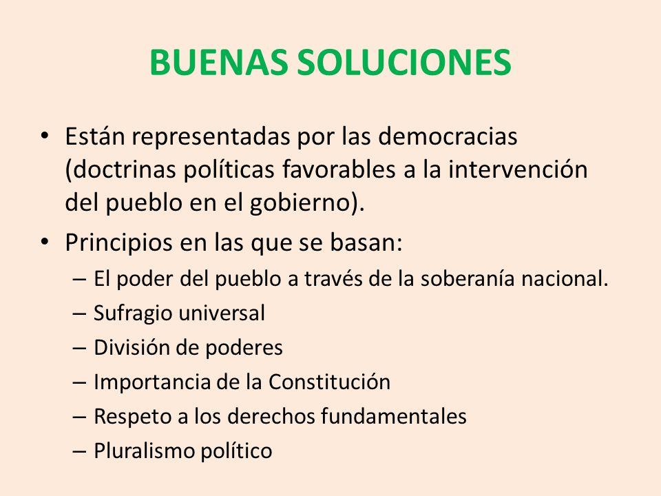 BUENAS SOLUCIONES Están representadas por las democracias (doctrinas políticas favorables a la intervención del pueblo en el gobierno).