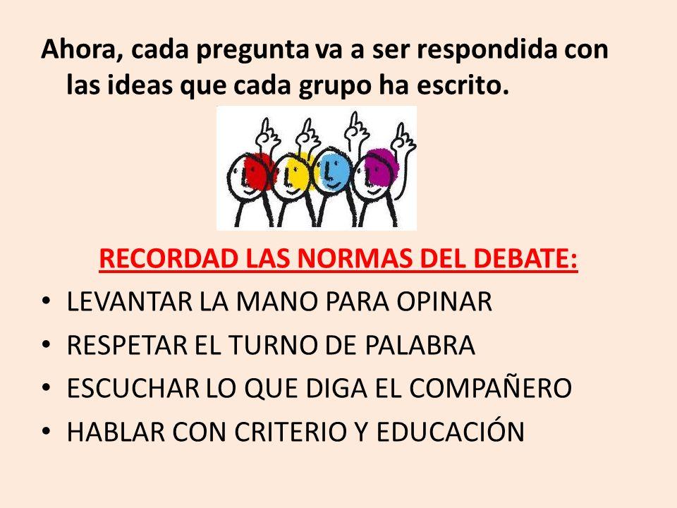 RECORDAD LAS NORMAS DEL DEBATE: