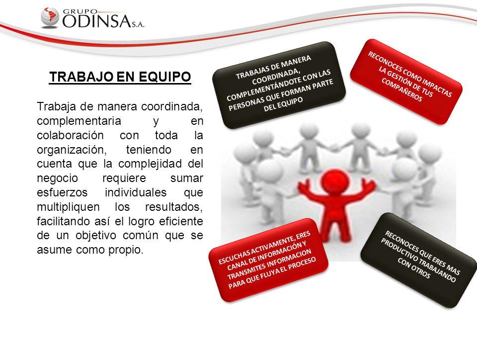 TRABAJAS DE MANERA COORDINADA, COMPLEMENTÁNDOTE CON LAS PERSONAS QUE FORMAN PARTE DEL EQUIPO