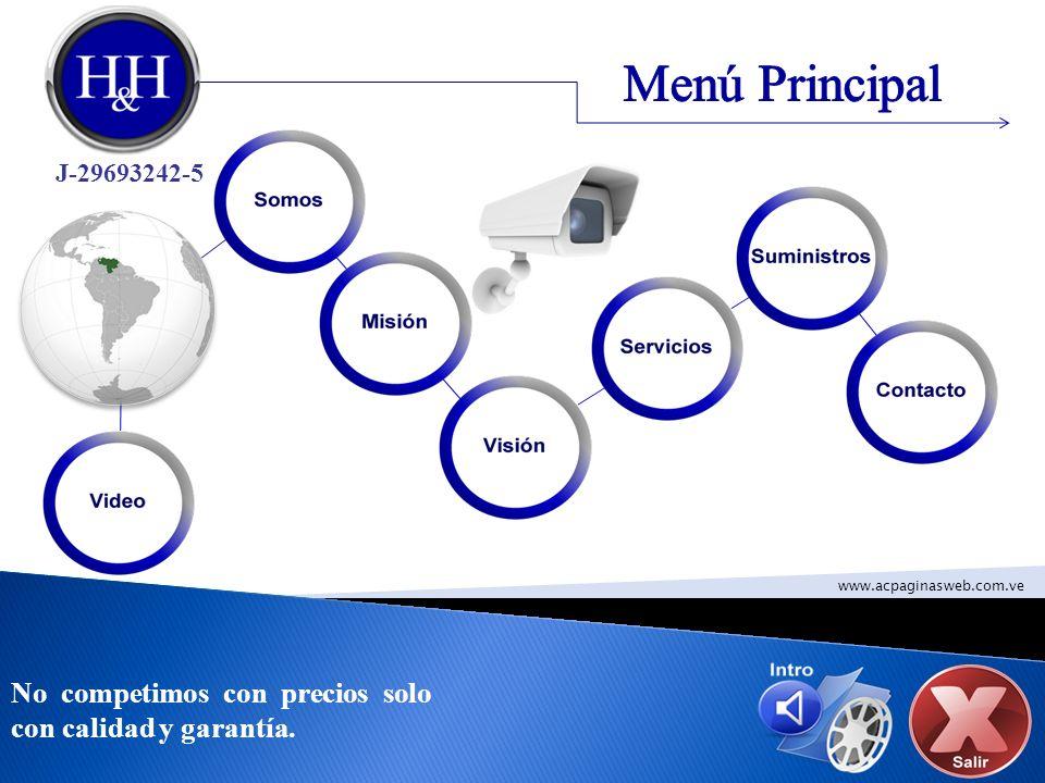 Menú Principal No competimos con precios solo con calidad y garantía.