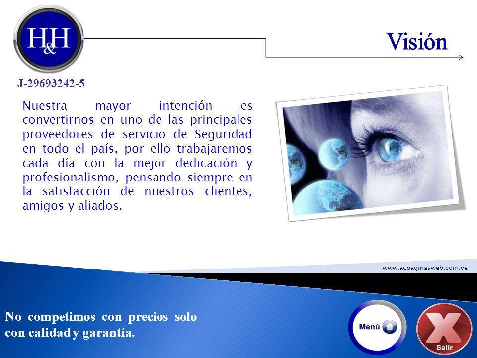 Visión No competimos con precios solo con calidad y garantía.