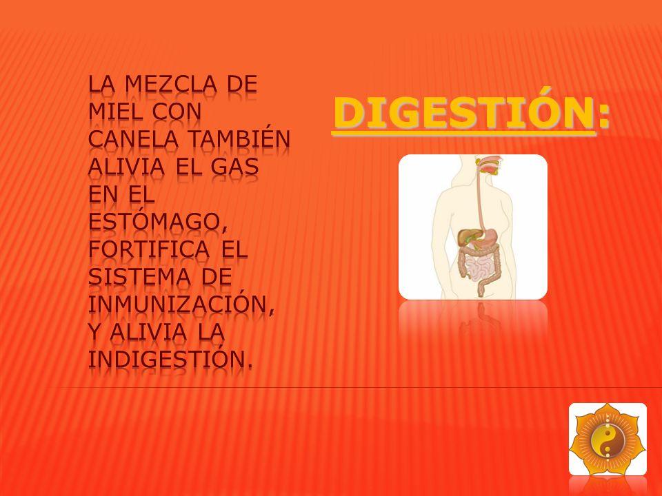 La mezcla de miel con canela también alivia el gas en el estómago, fortifica el Sistema de Inmunización, y alivia la indigestión.
