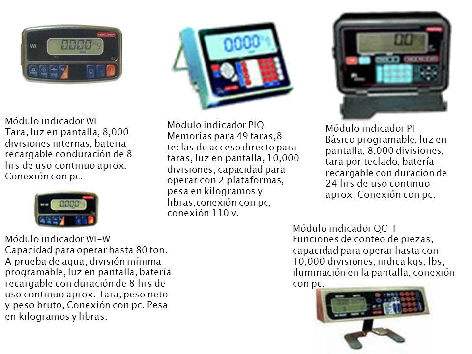 Módulo indicador WI Tara, luz en pantalla, 8,000 divisiones internas, bateria recargable conduración de 8 hrs de uso continuo aprox. Conexión con pc.