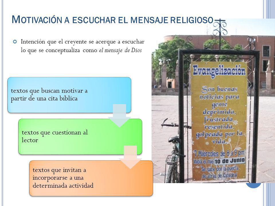 Motivación a escuchar el mensaje religioso