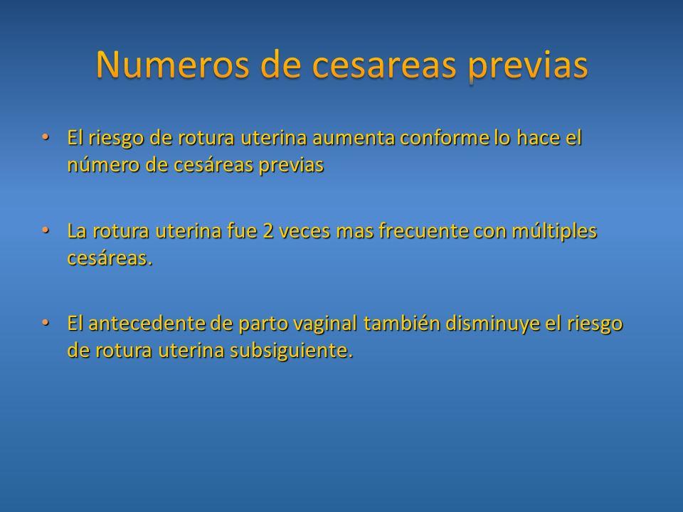 Numeros de cesareas previas