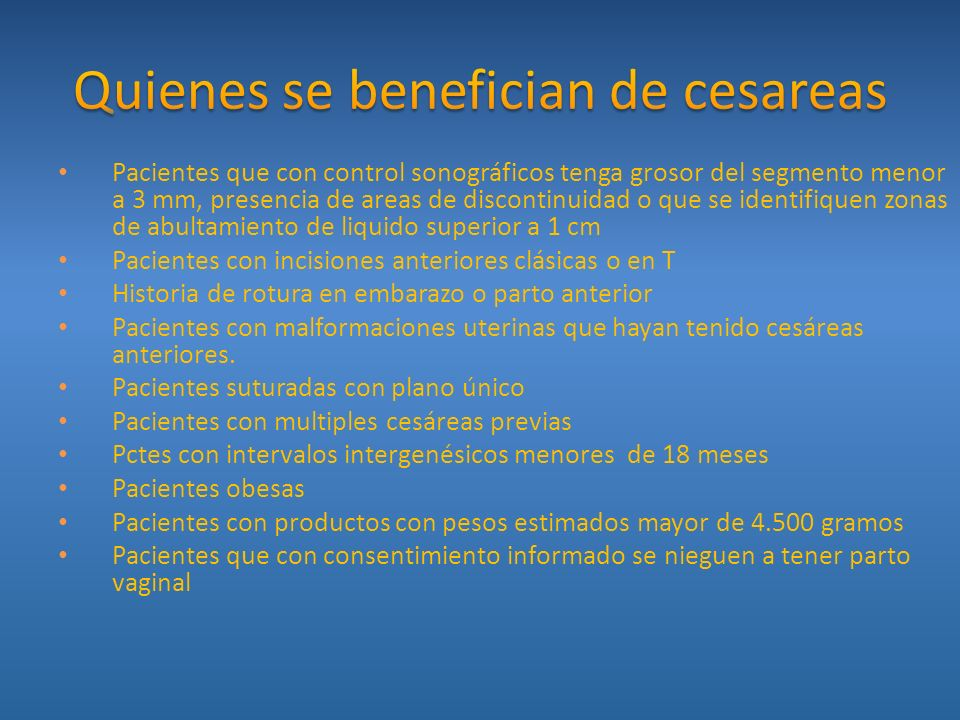 Quienes se benefician de cesareas