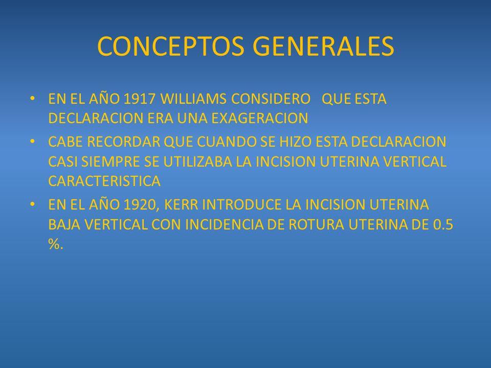 CONCEPTOS GENERALES EN EL AÑO 1917 WILLIAMS CONSIDERO QUE ESTA DECLARACION ERA UNA EXAGERACION.