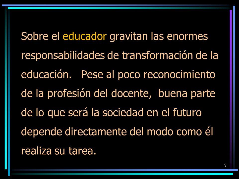 Sobre el educador gravitan las enormes responsabilidades de transformación de la educación.