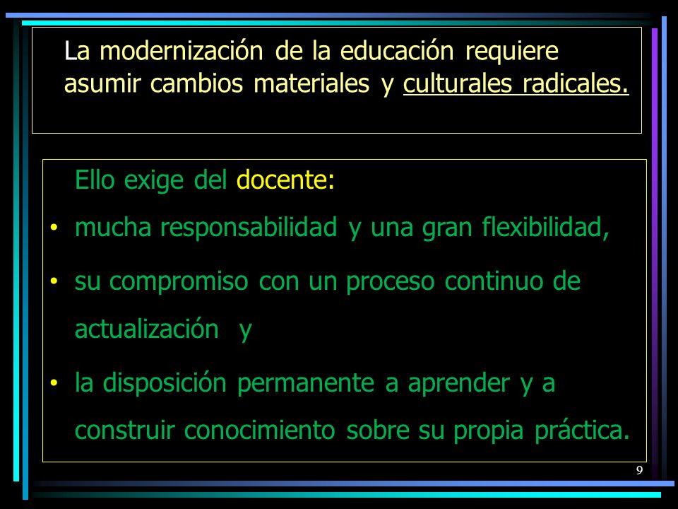 La modernización de la educación requiere asumir cambios materiales y culturales radicales.