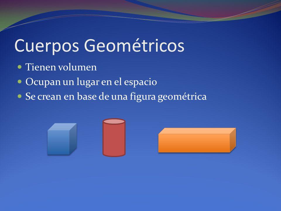 Cuerpos Geométricos Tienen volumen Ocupan un lugar en el espacio