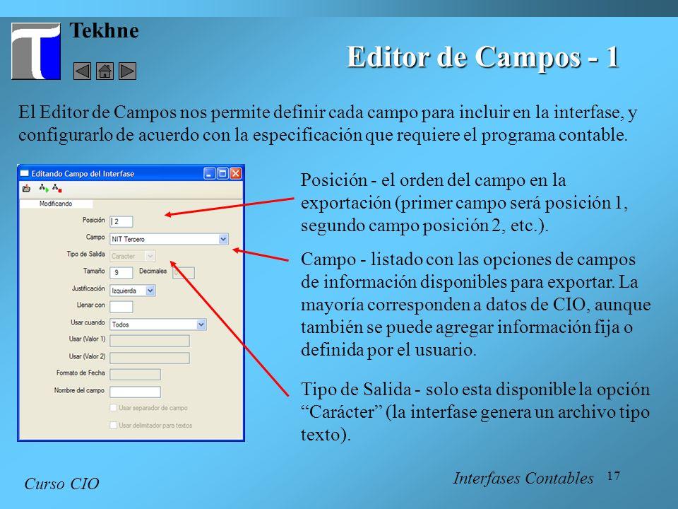 Editor de Campos - 1 Tekhne