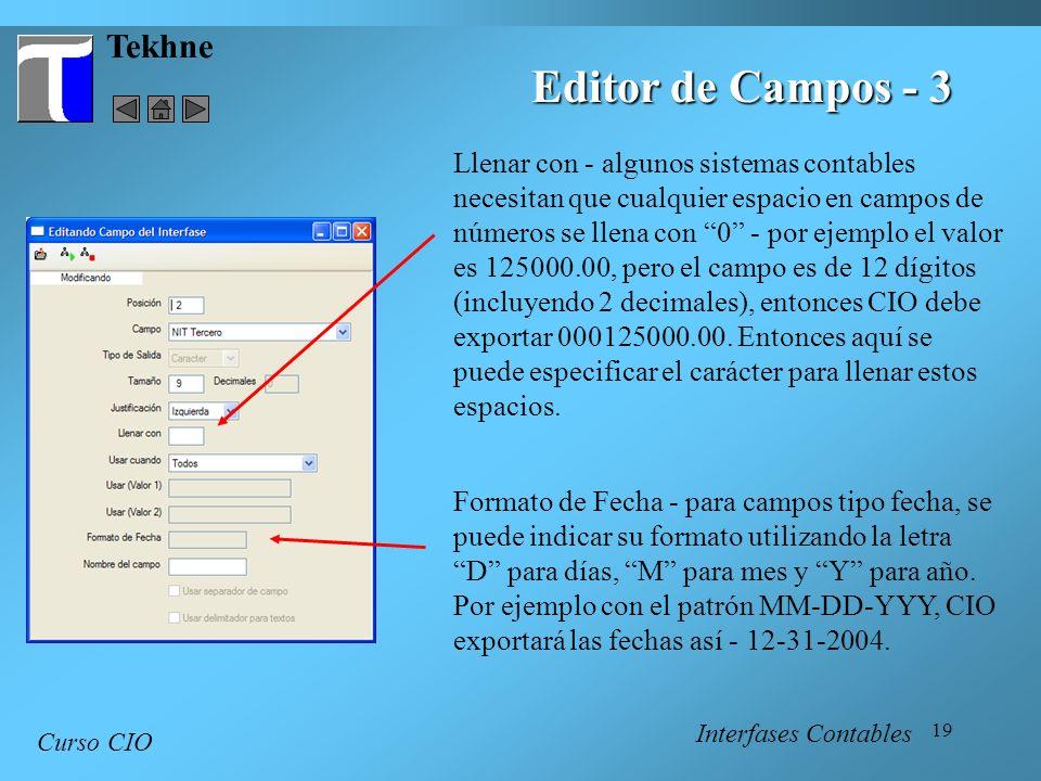 Editor de Campos - 3 Tekhne