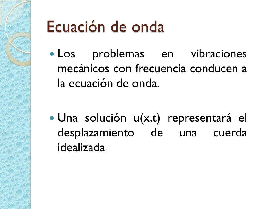 Ecuación de onda Los problemas en vibraciones mecánicos con frecuencia conducen a la ecuación de onda.