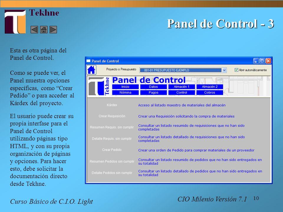Panel de Control - 3 Curso Básico de C.I.O. Light