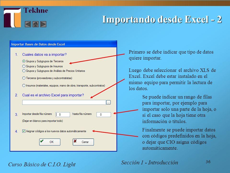 Importando desde Excel - 2