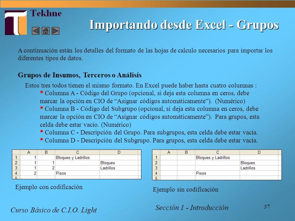 Importando desde Excel - Grupos