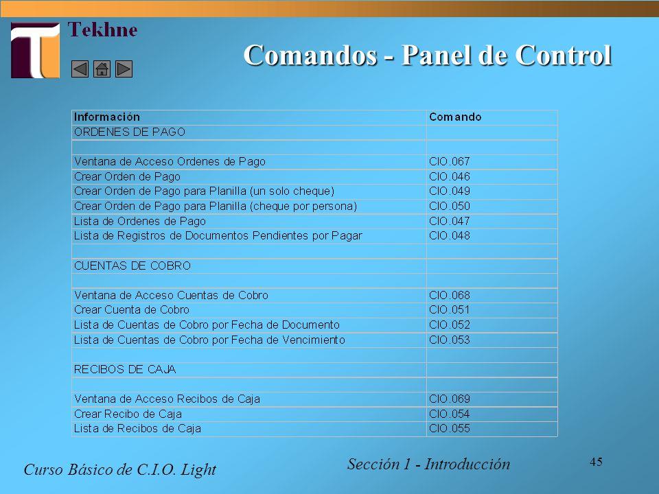 Comandos - Panel de Control