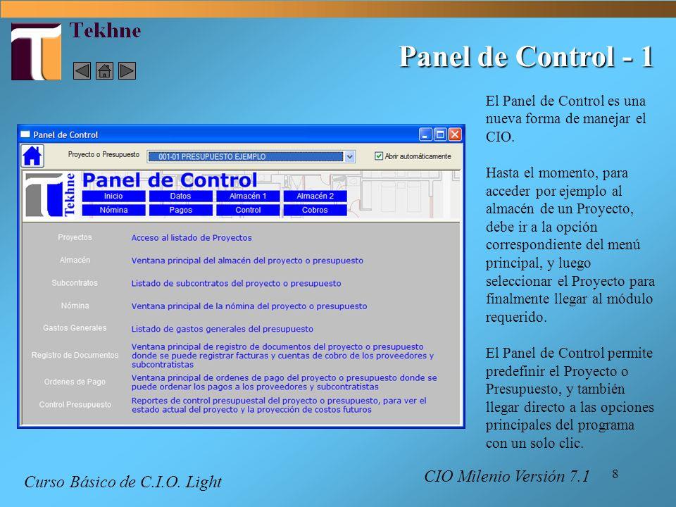 Panel de Control - 1 Curso Básico de C.I.O. Light