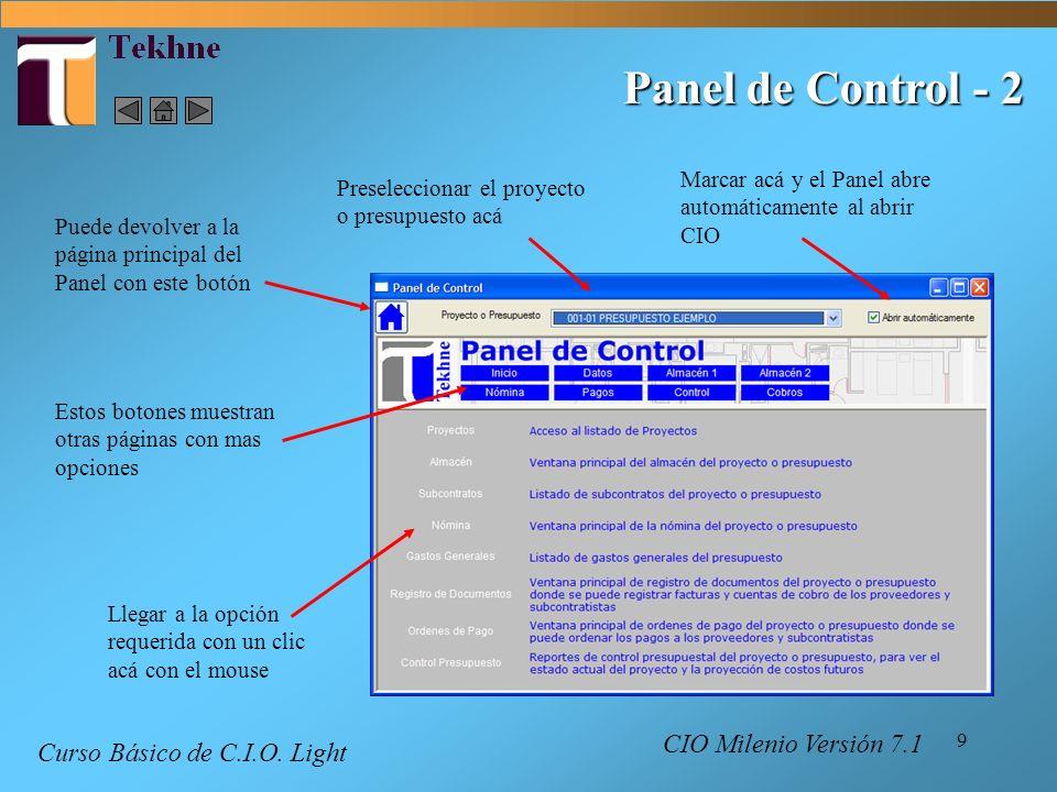 Panel de Control - 2 Curso Básico de C.I.O. Light