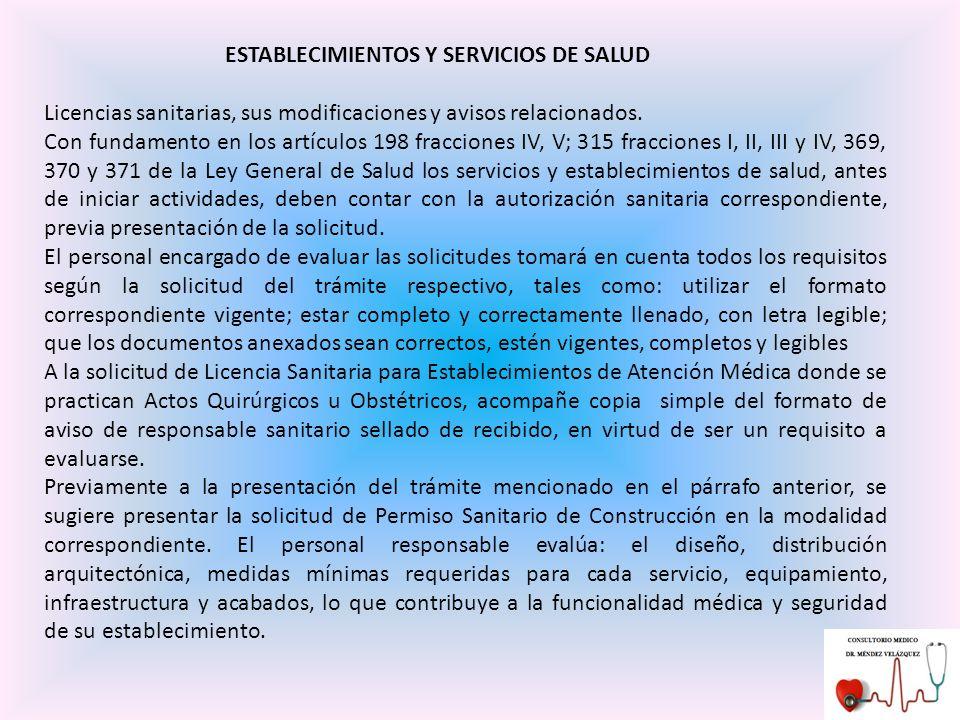 ESTABLECIMIENTOS Y SERVICIOS DE SALUD
