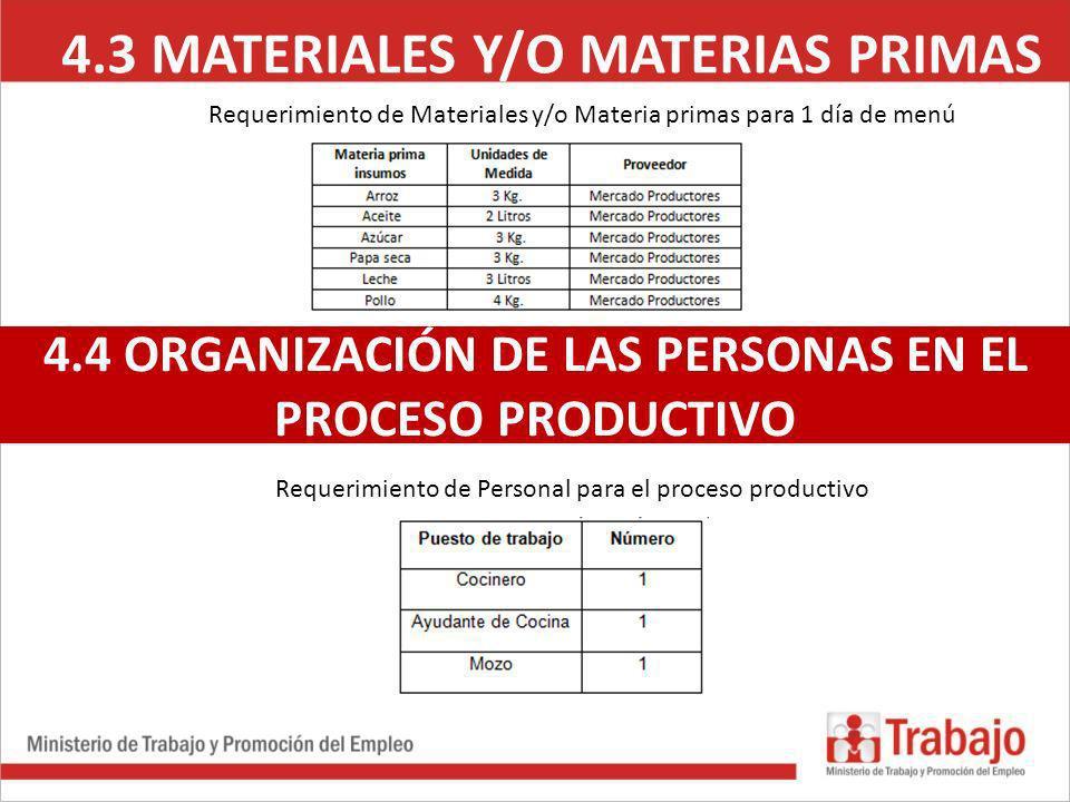 4.3 MATERIALES Y/O MATERIAS PRIMAS