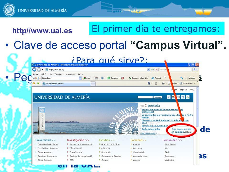 Clave de acceso portal Campus Virtual . Pegatinas asignaturas