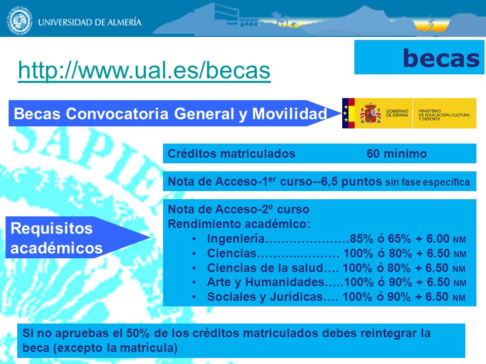 becas http://www.ual.es/becas Becas Convocatoria General y Movilidad