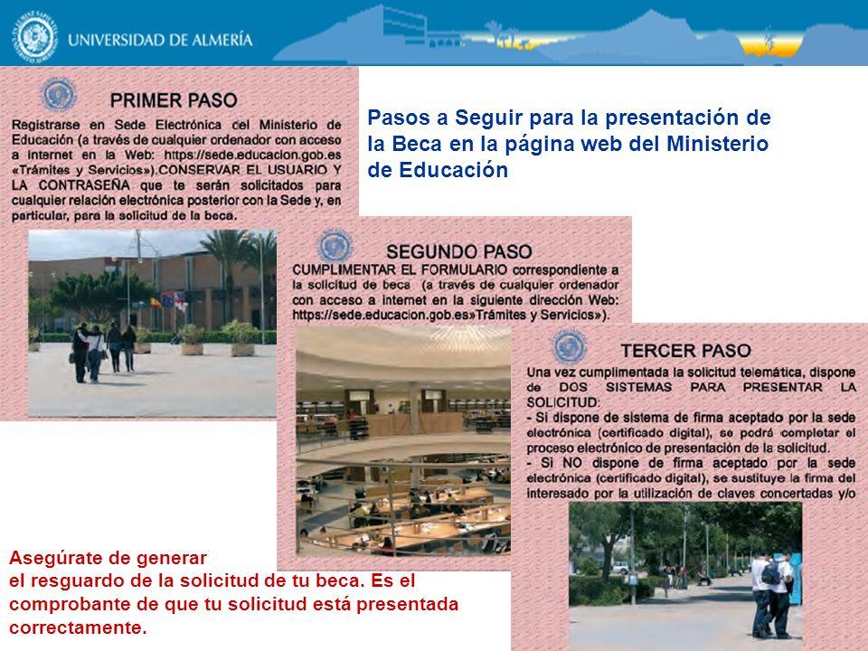 Pasos a Seguir para la presentación de la Beca en la página web del Ministerio de Educación