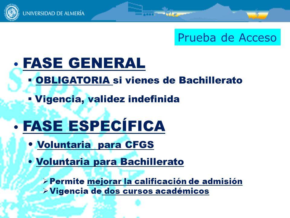 Prueba de Acceso FASE GENERAL FASE ESPECÍFICA Voluntaria para CFGS