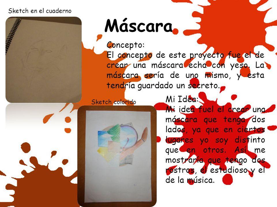 Sketch en el cuaderno Máscara. Concepto: