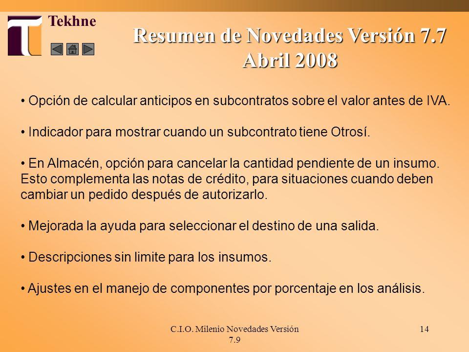 Resumen de Novedades Versión 7.7
