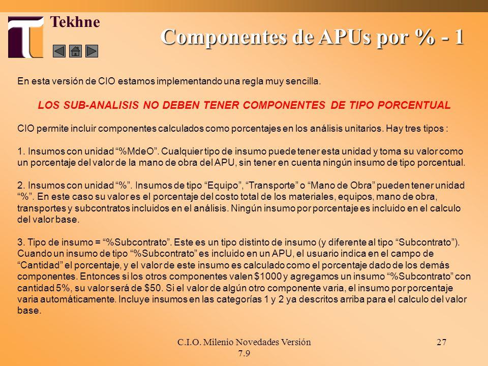 Componentes de APUs por % - 1