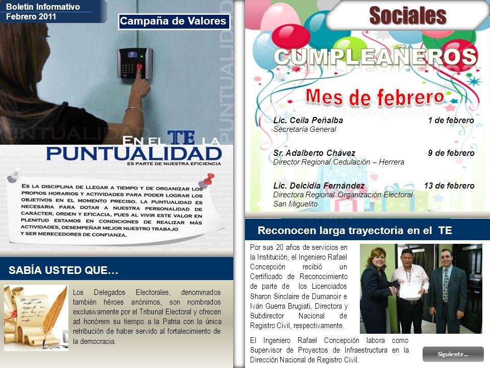 Sociales CUMPLEAÑEROS Mes de febrero Campaña de Valores