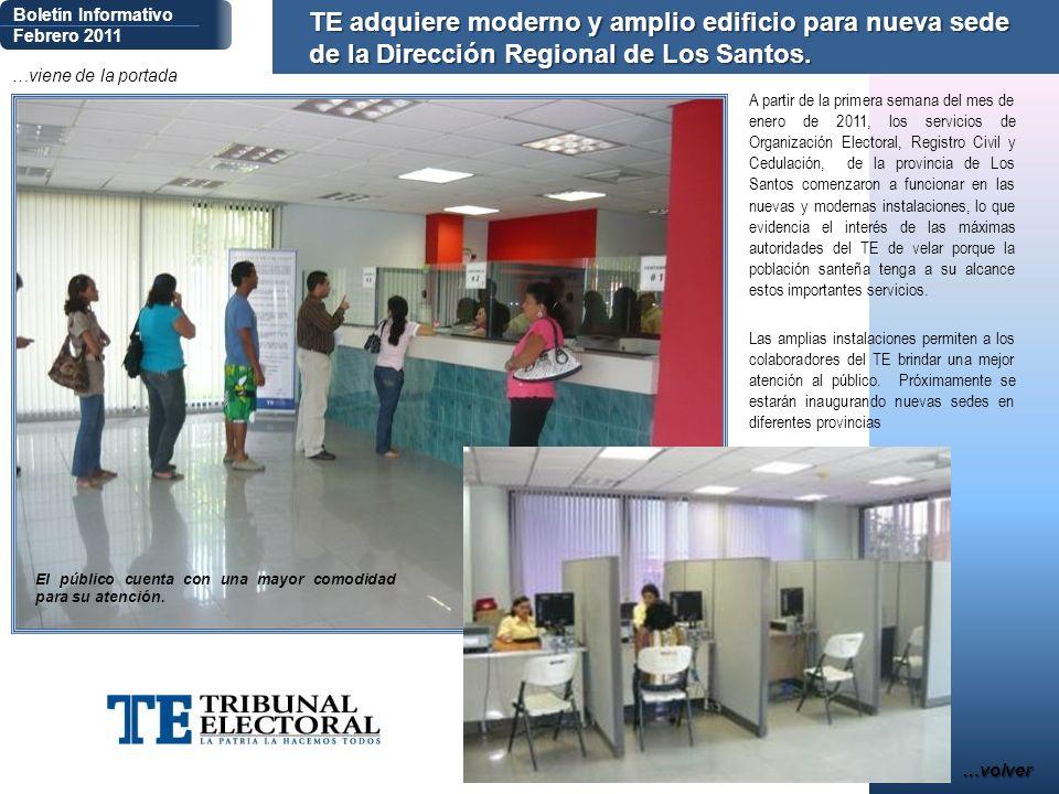 Boletín Informativo Febrero 2011. TE adquiere moderno y amplio edificio para nueva sede de la Dirección Regional de Los Santos.